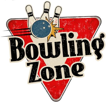 Bowling zone vintage rusty metal sign on a white background, vector illustration