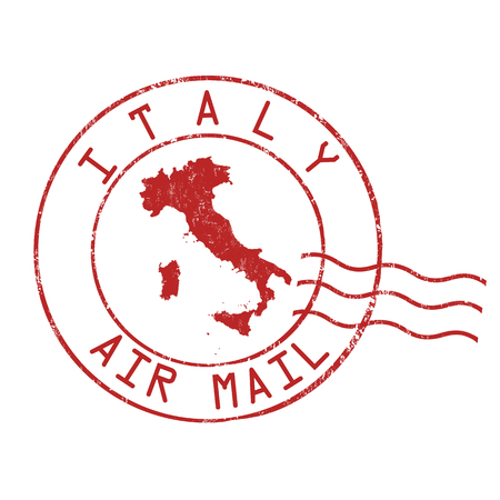 Italy post office, air mail, grunge rubber stamp on white background, vector illustration