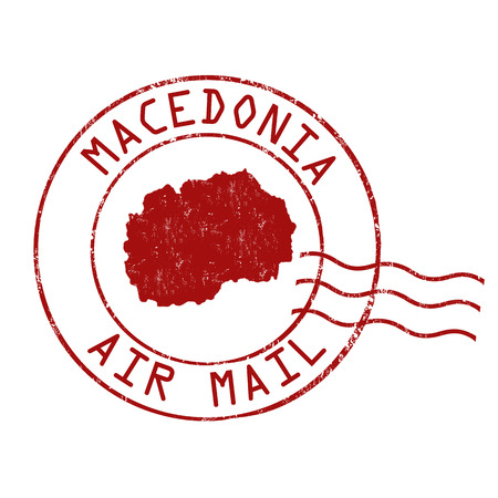 Macedonia post office, air mail, grunge rubber stamp on white background, vector illustration Illustration