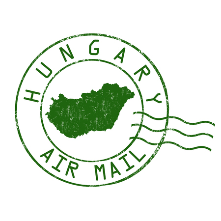 post mail: Hungary post office, air mail, grunge rubber stamp on white background, vector illustration
