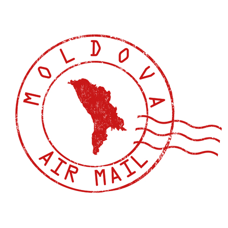 Moldova  post office, air mail, grunge rubber stamp on white background, vector illustration Illustration