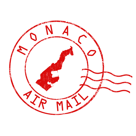 Monaco post office, air mail, grunge rubber stamp on white background, vector illustration