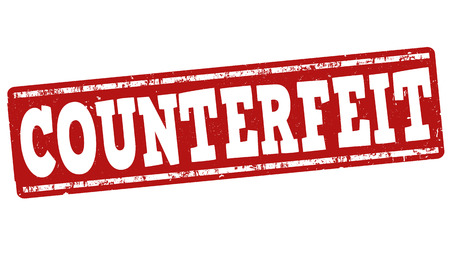 forgery: Counterfeit grunge rubber stamp on white background, vector illustration