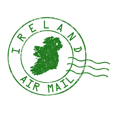 post mail: Ireland post office, air mail, grunge rubber stamp on white background, vector illustration