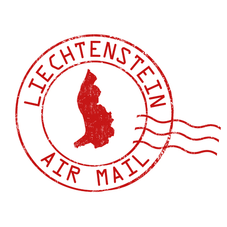 postmark: Liechtenstein post office, air mail, grunge rubber stamp on white background, vector illustration