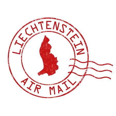 Liechtenstein post office, air mail, grunge rubber stamp on white background, vector illustration