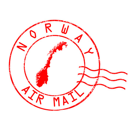Norway post office, air mail, grunge rubber stamp on white background, vector illustration