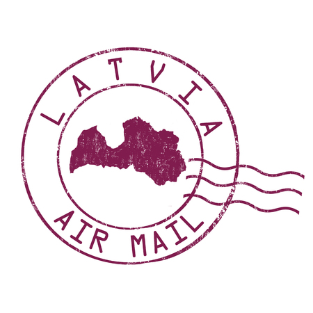 post stamp: Latvia post office, air mail, grunge rubber stamp on white background, vector illustration