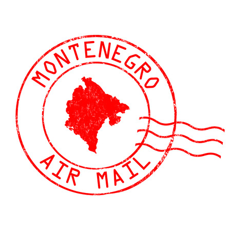 post stamp: Montenegro post office, air mail, grunge rubber stamp on white background, vector illustration