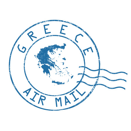 post stamp: Greece post office, air mail, grunge rubber stamp on white background, vector illustration