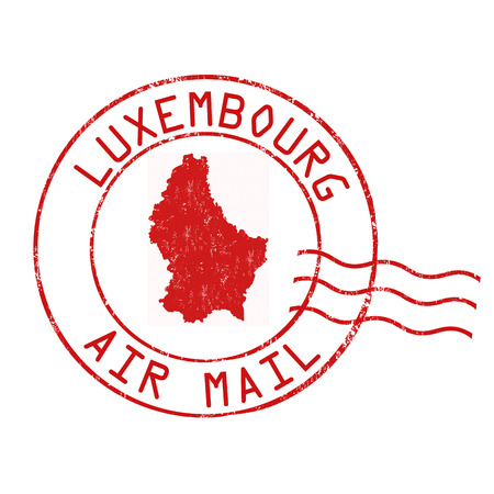 Luxembourg post office, air mail, grunge rubber stamp on white background, vector illustration
