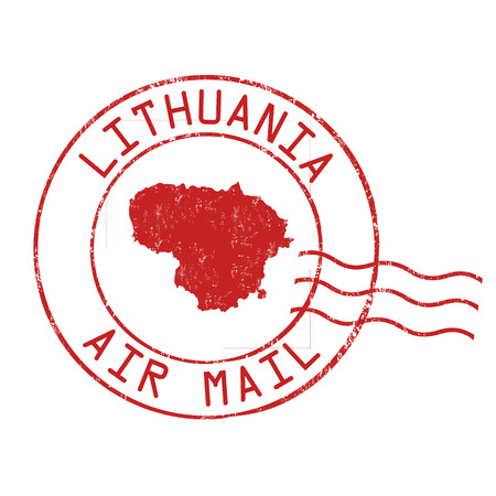 Lithuania post office, air mail, grunge rubber stamp on white background, vector illustration