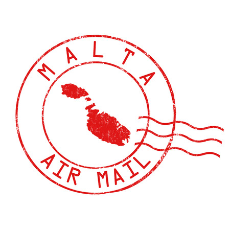 Malta post office, air mail, grunge rubber stamp on white background, vector illustration