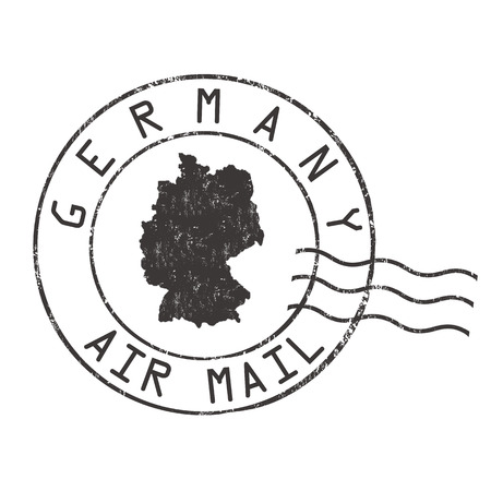 Germany post office, air mail, grunge rubber stamp on white background, vector illustration Illustration