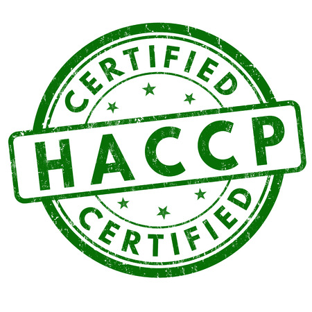 HACCP (Hazard Analysis Critical Control Points) grunge rubber stamp on white background, vector illustration Çizim