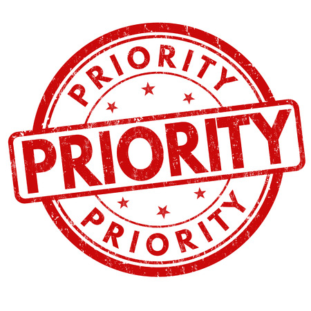 Priority grunge rubber stamp on white background, vector illustration