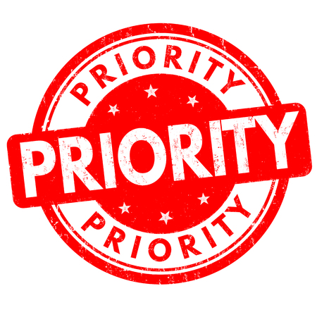 warrant: Priority grunge rubber stamp on white background, vector illustration