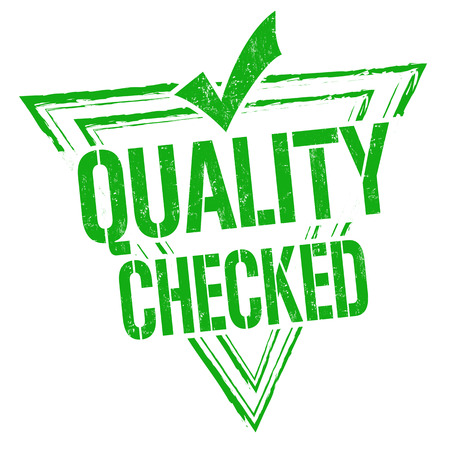 assured: Quality checked grunge rubber stamp or sign on white background, vector illustration Illustration