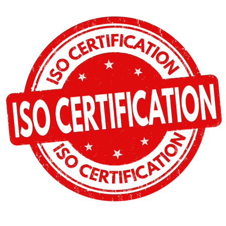 iso: ISO certification grunge rubber stamp or sign on white background, vector illustration