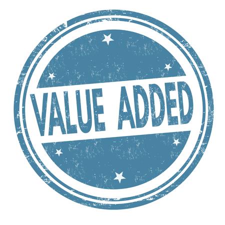 valor: Valor añadido grunge sello de goma o firmar en el fondo blanco, ilustración vectorial Vectores