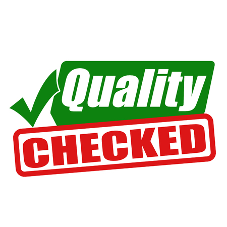 checked: Quality checked grunge rubber stamp or sign on white background, vector illustration Illustration