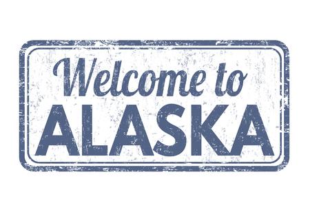 Bem-vindo ao Alasca carimbo de borracha do grunge no fundo branco, ilustração vetorial