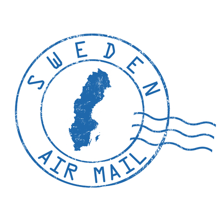 Sweden post office, air mail, grunge rubber stamp on white background, vector illustration