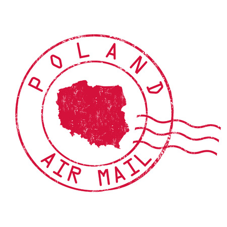 Poland post office, air mail, grunge rubber stamp on white background, vector illustration