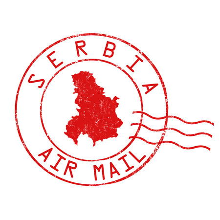 Serbia post office, air mail, grunge rubber stamp on white background, vector illustration