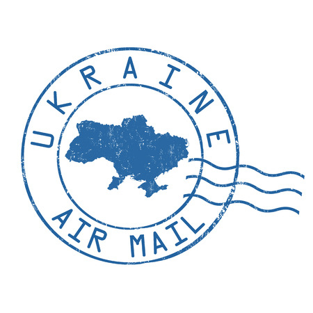 post mail: Ukraine post office, air mail, grunge rubber stamp on white background, vector illustration