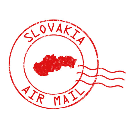 Slovakia post office, air mail, grunge rubber stamp on white background, vector illustration Illustration