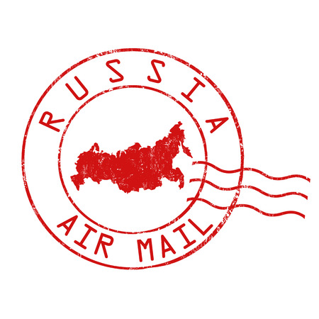 Russia post office, air mail, grunge rubber stamp on white background, vector illustration