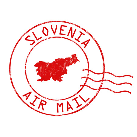 post stamp: Slovenia post office, air mail, grunge rubber stamp on white background, vector illustration