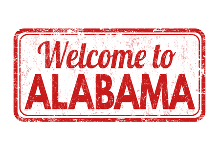 alabama: Welcome to Alabama grunge rubber stamp on white background, vector illustration Illustration