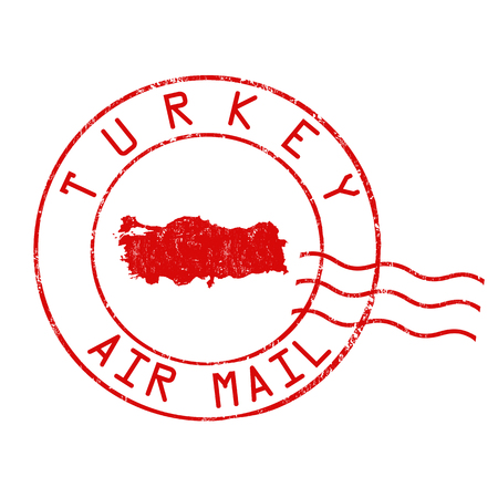 Turkey post office, air mail, grunge rubber stamp on white background, vector illustration Illustration