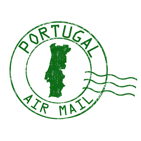 post mail: Portugal post office, air mail, grunge rubber stamp on white background, vector illustration