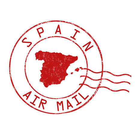 post stamp: Spain post office, air mail, grunge rubber stamp on white background, vector illustration