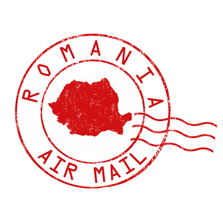 Romania post office, air mail, grunge rubber stamp on white background, vector illustration Illustration