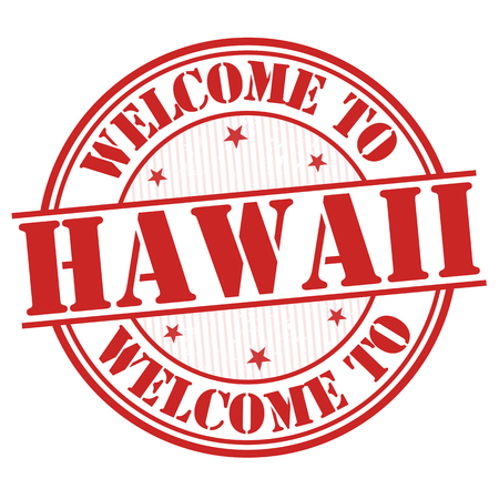 visit: Welcome to Hawaii grunge rubber stamp on white background, vector illustration