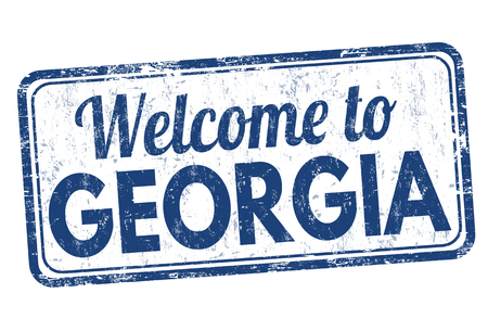 proclaim: Welcome to Georgia grunge rubber stamp on white background, vector illustration