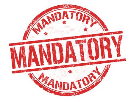 mandatory: Mandatory grunge rubber stamp on white background