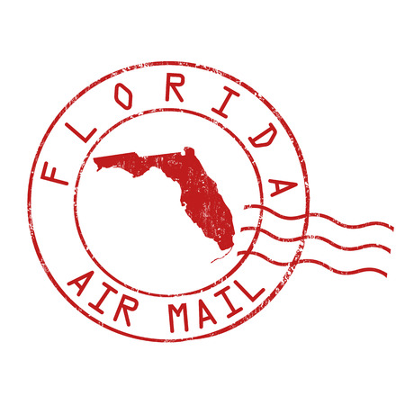 Florida post office, air mail, grunge rubber stamp on white background Illustration