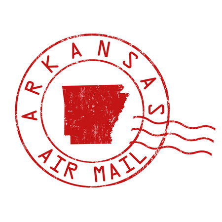 Arkansas post office, air mail, grunge rubber stamp on white background