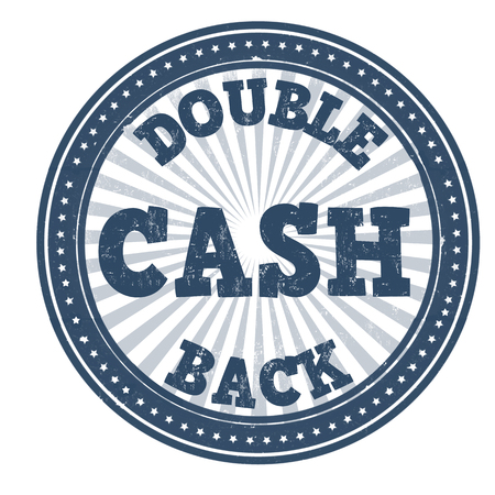 cash: Double cash back grunge rubber stamp on white background Illustration