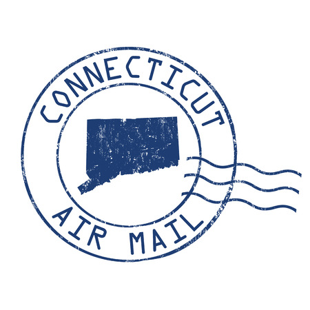 post mail: Connecticut post office, air mail, grunge rubber stamp on white background Illustration