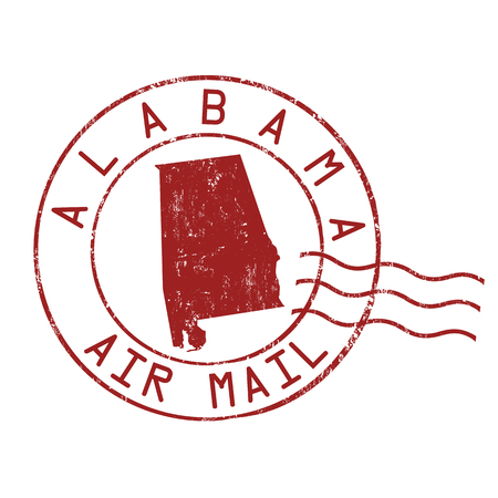 postmark: Alabama post office, air mail, grunge rubber stamp on white background Illustration