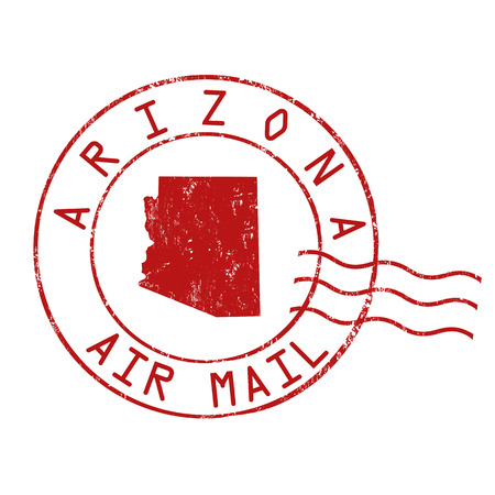 Arizona post office, air mail, grunge rubber stamp on white background