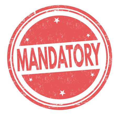 Mandatory grunge rubber stamp on white background