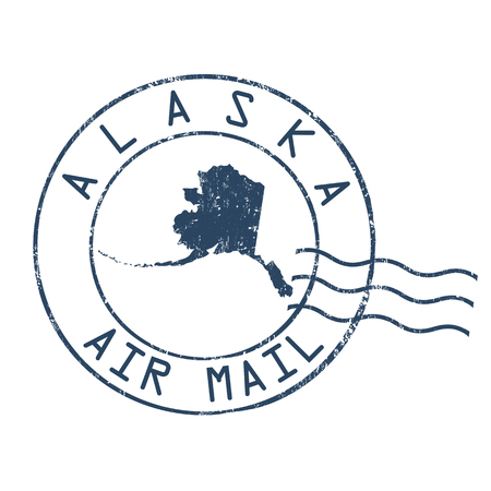 post mail: Alaska post office, air mail, grunge rubber stamp on white background Illustration