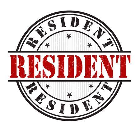 resident: Resident grunge rubber stamp on white background Illustration